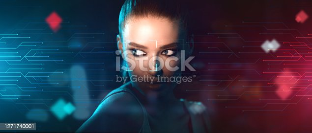 Hi-Tech Human Recognition. Face Scanning Interface Over Portrait Of Young Woman, Creative Collage, Futuristic Design, Panorama