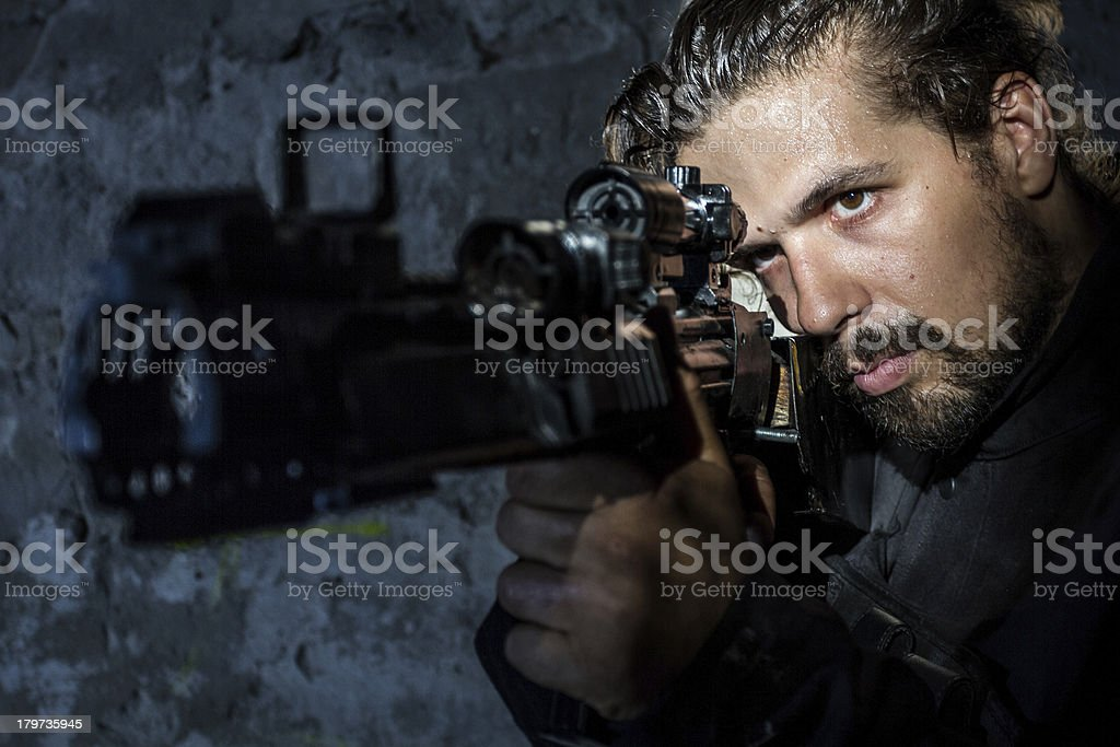 Hitman in Action royalty-free stock photo
