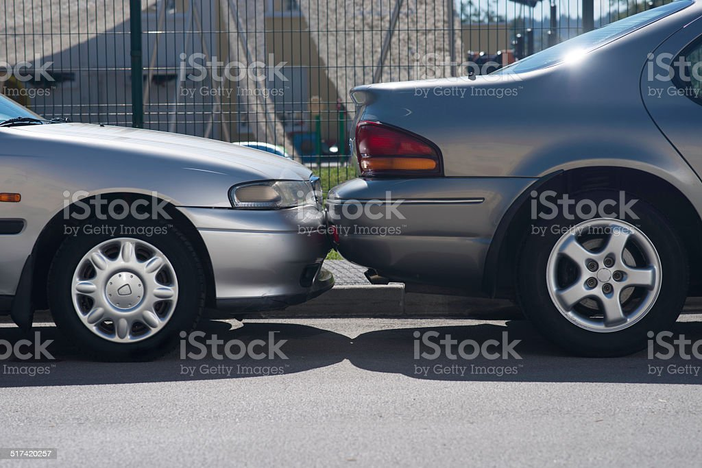 Hitting A Parked Car stock photo