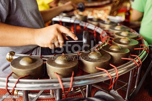 hitting gamelan musicians. the Band Instruments Thailand