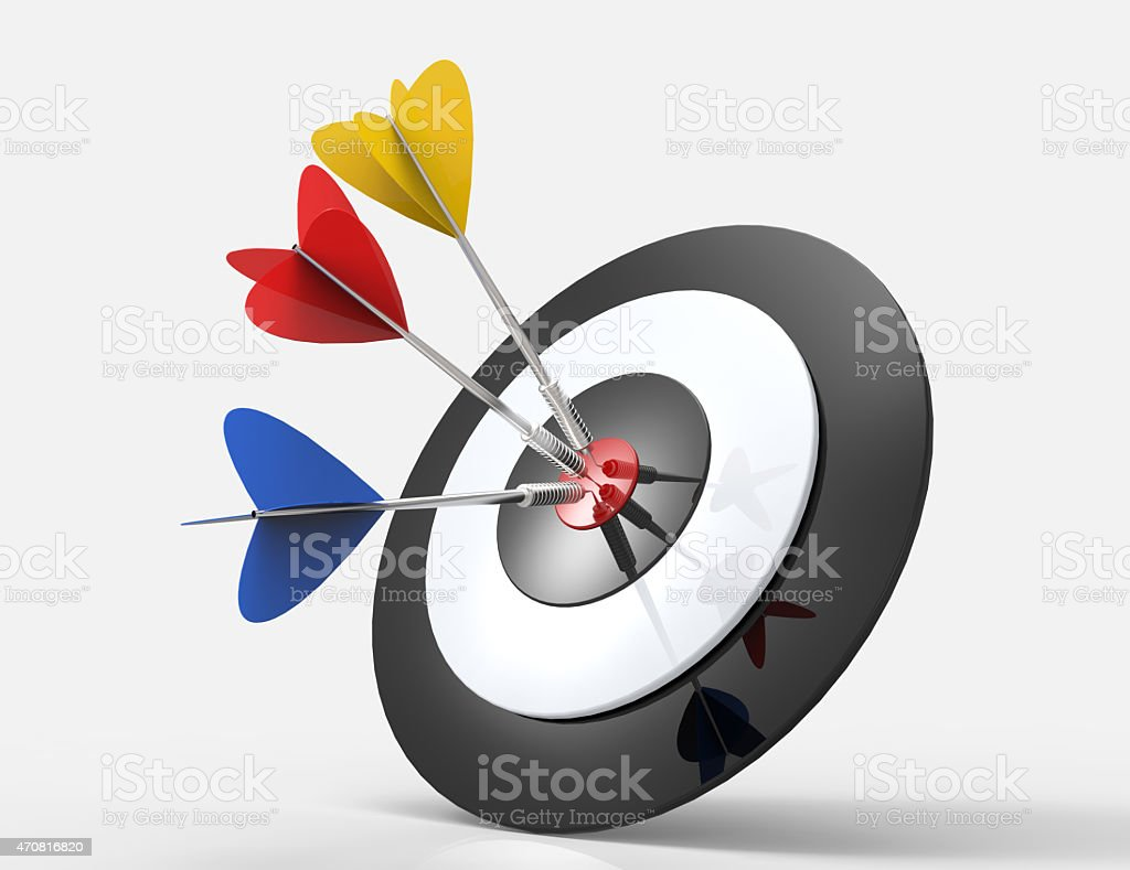 Hitting target 3d colorful arrows stock photo