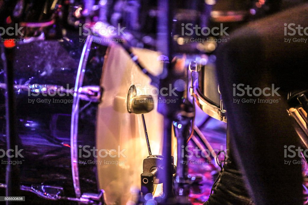 Hitting the bass drum stock photo