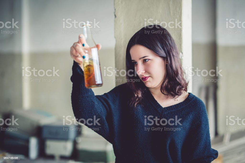 Hitting the bottle royalty-free stock photo