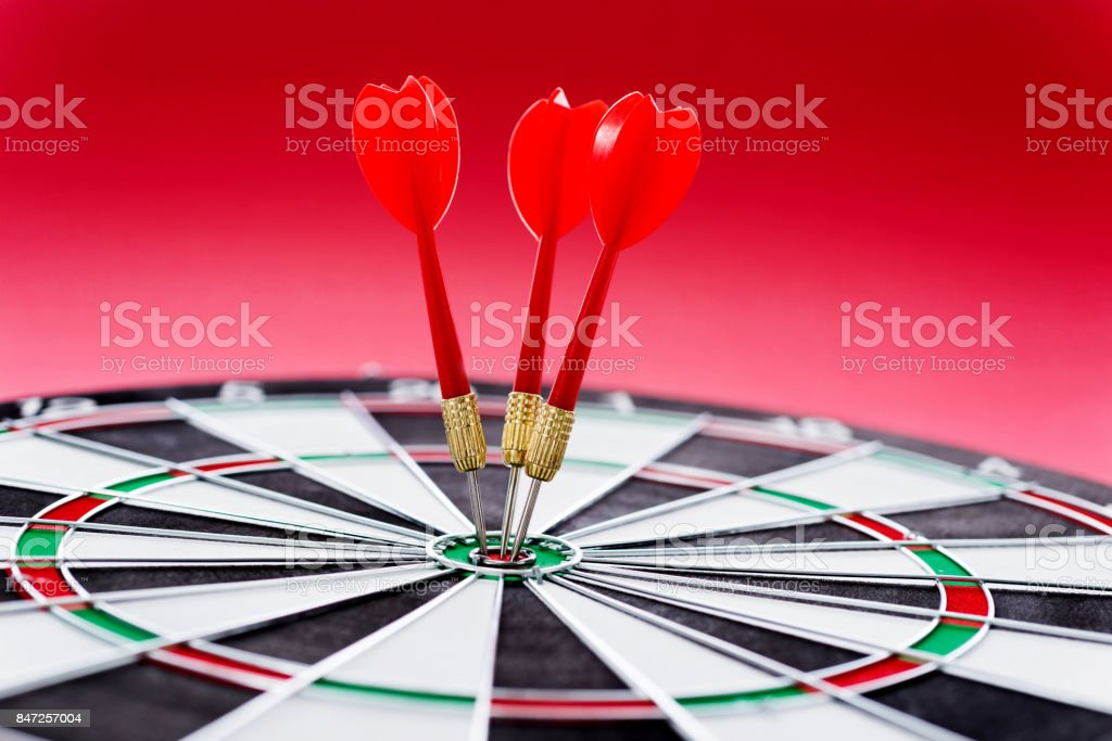 Hitting the bulls eye on the red background