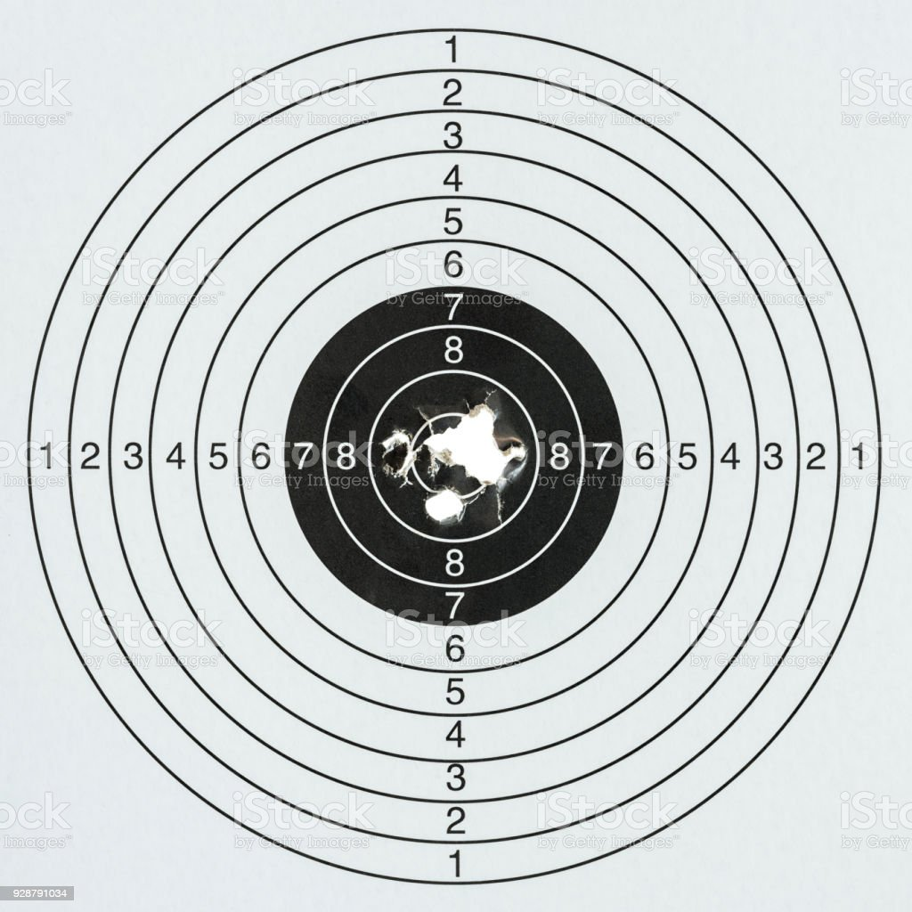 Hitting the target, a paper gun target with a very high score. stock photo