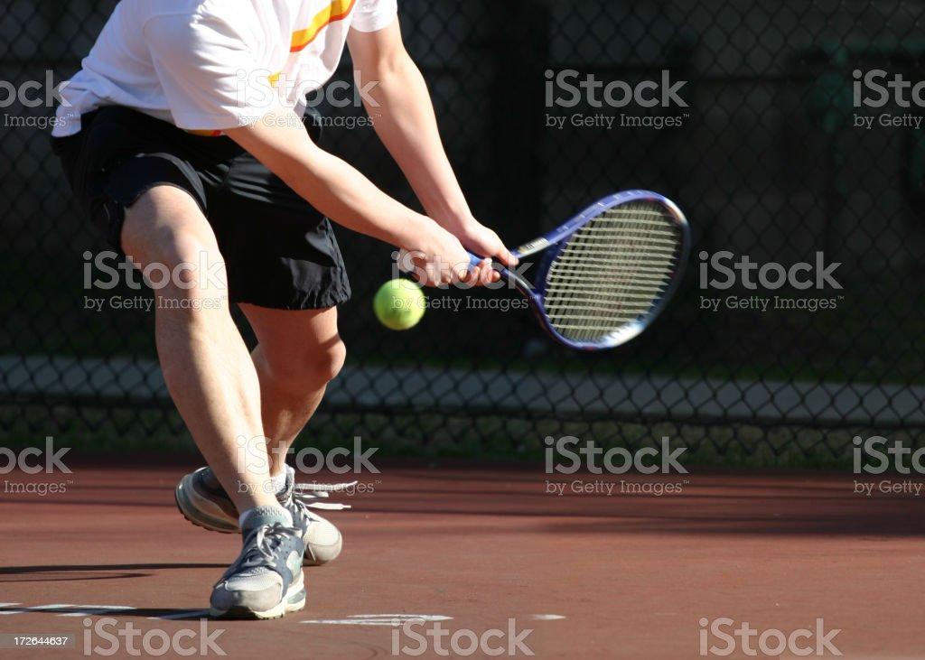 Hitting the tennis stock photo