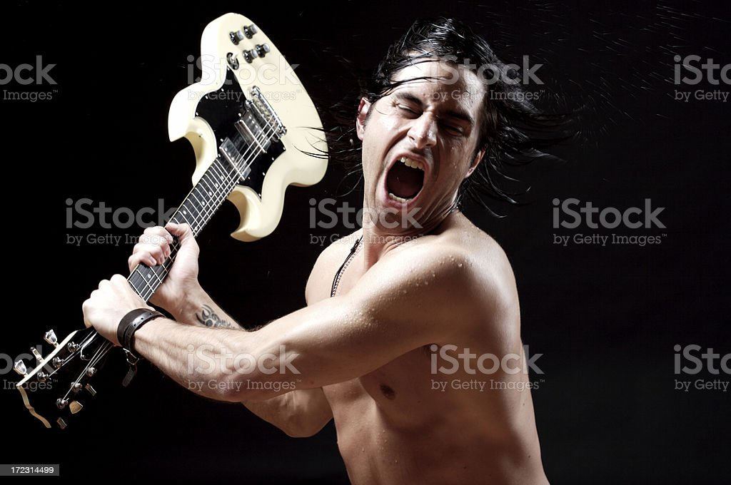 hittinh with my guitar stock photo