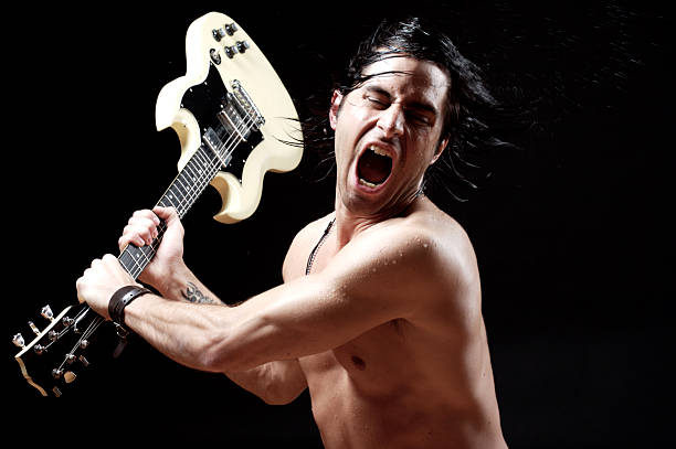 hittinh with my guitar - broken guitar stock photos and pictures