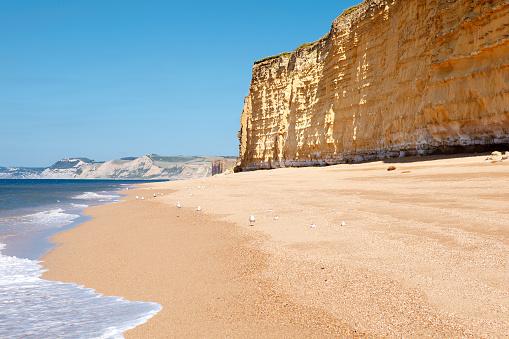 Hive beach, Bridport, Dorset, the view of cliffs and sea