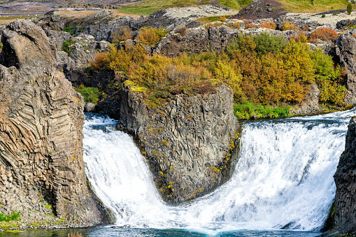 1131408581 istock photo Hjalparfoss waterfall landscape closeup of orange and red tree foliage in south Iceland in autumn fall season with nobody and water falling 1131402693