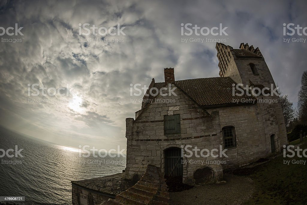 Højerup old church on Stevns cliff, Zealand, Denmark royalty-free stock photo