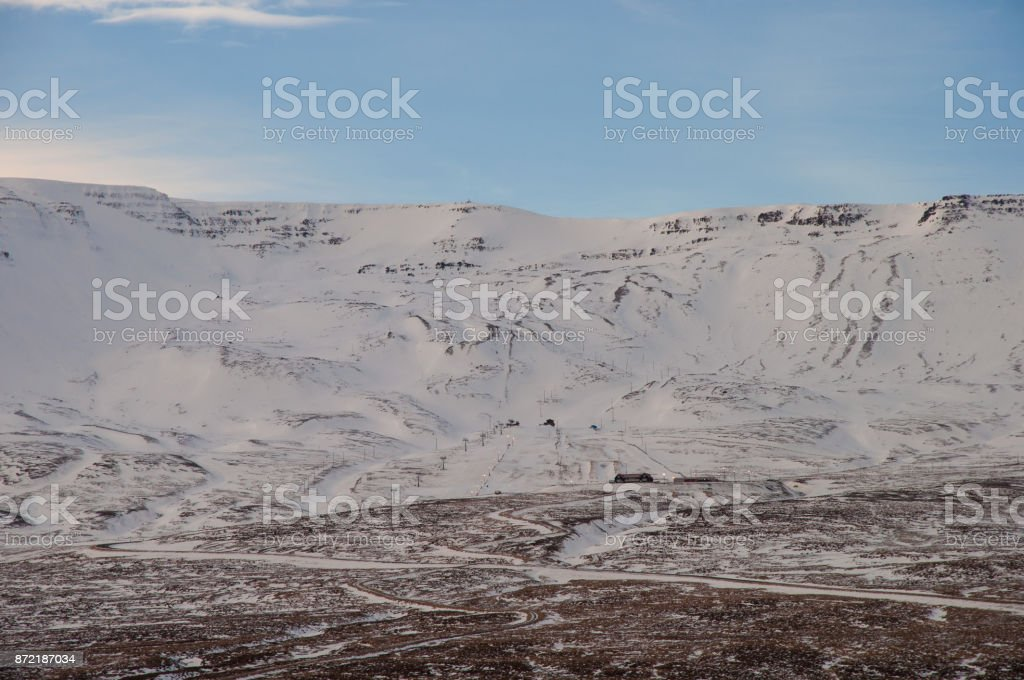 Hlidarfjall skiing resort in Iceland during early winter stock photo