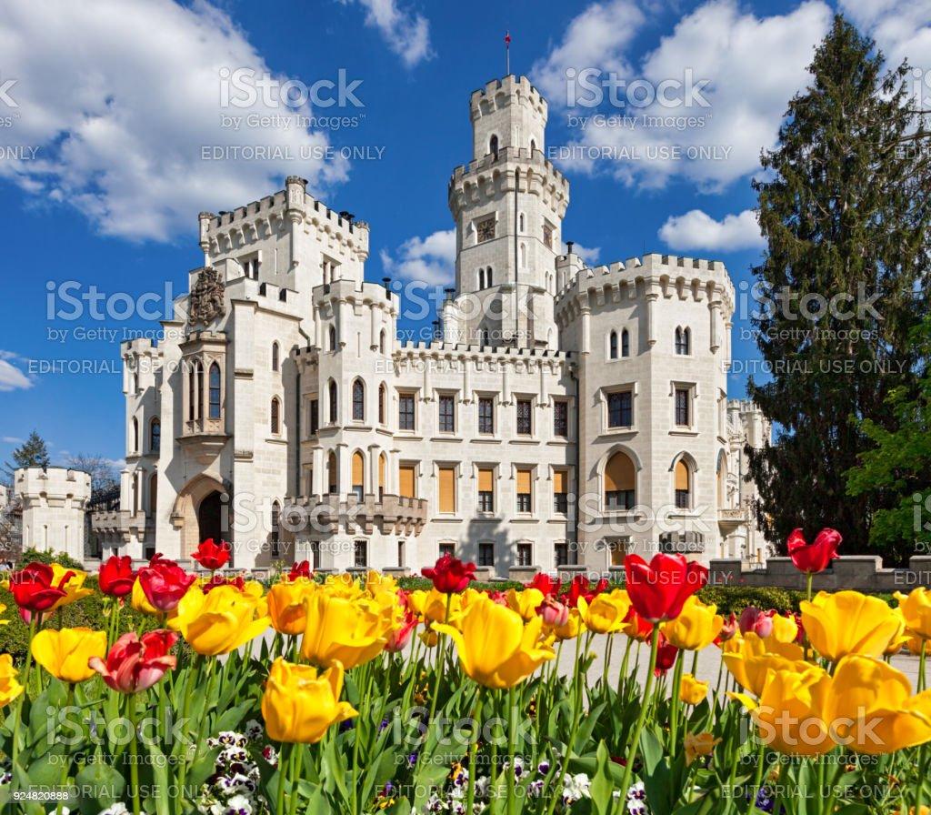 Hluboka nad Vltavou in spring stock photo