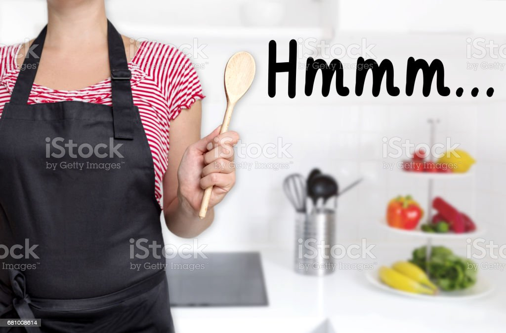 hmm cook holding wooden spoon background concept stock photo