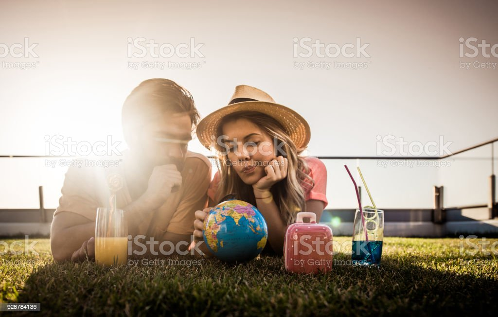Hmm, where should we go on our vacation? stock photo