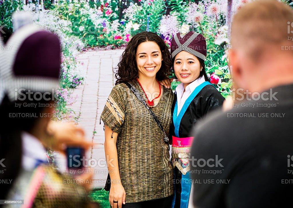 Hmong and Tourist Photo Oppoertunity stock photo