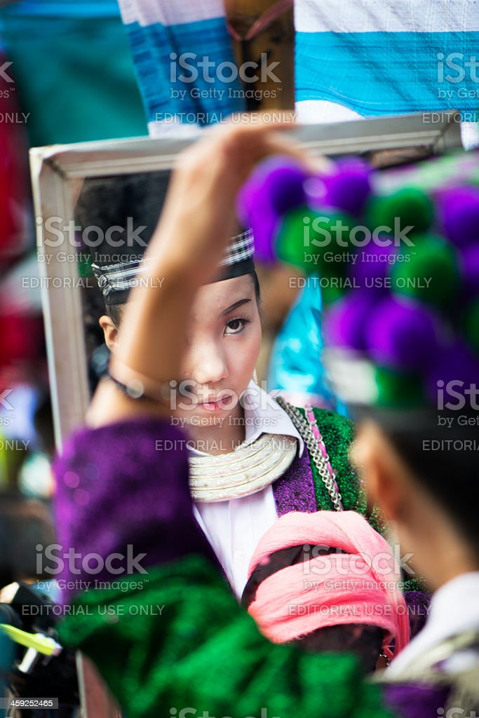 Hmong Girl and Mirror stock photo