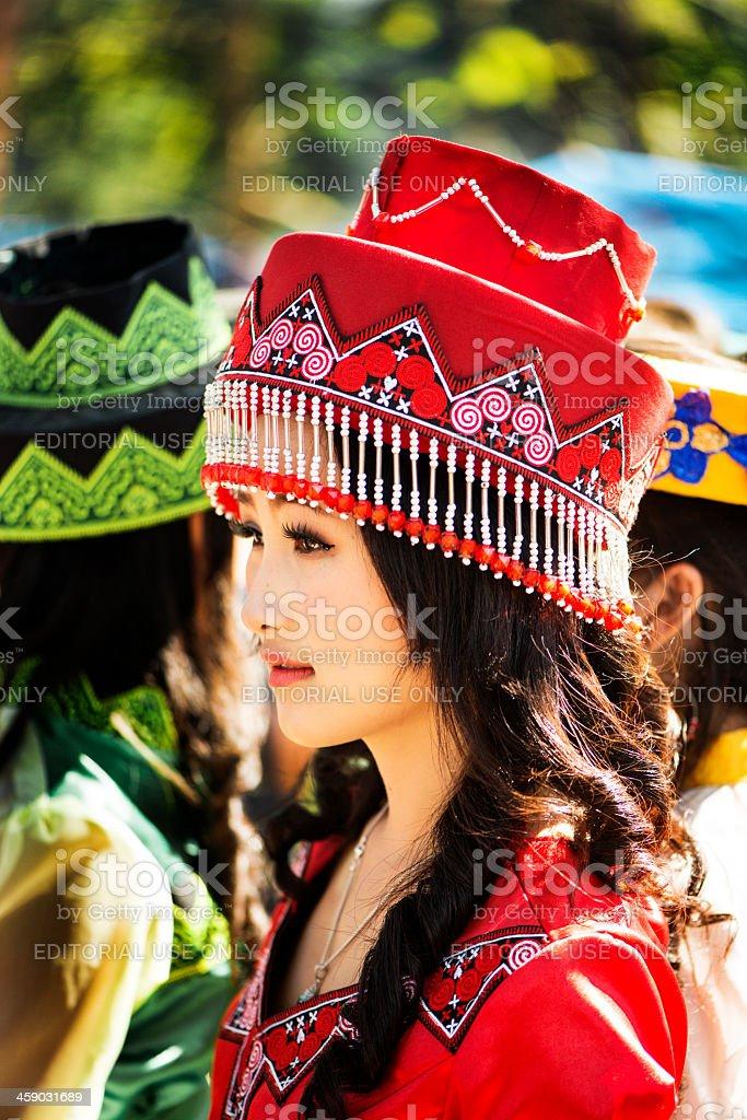 Hmong Girl Wearing Red stock photo