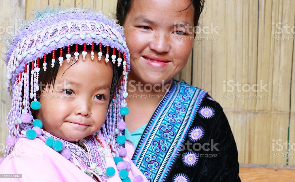 Hmong mother and child royalty-free stock photo