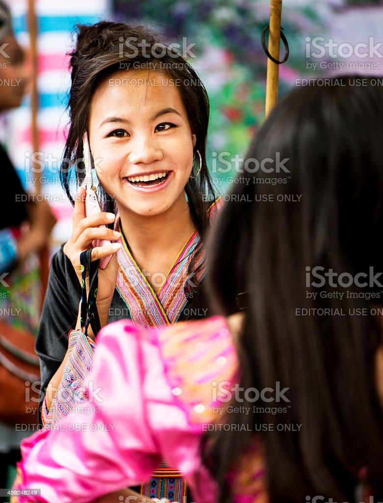 Hmong Phone Call stock photo