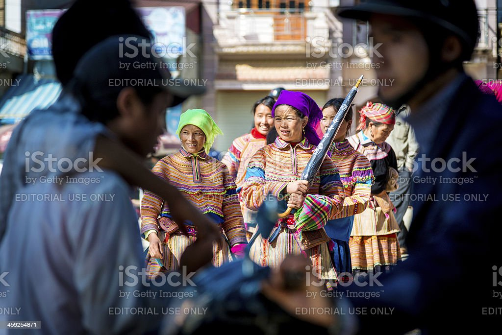 Hmong woman at the market, Vietnam stock photo