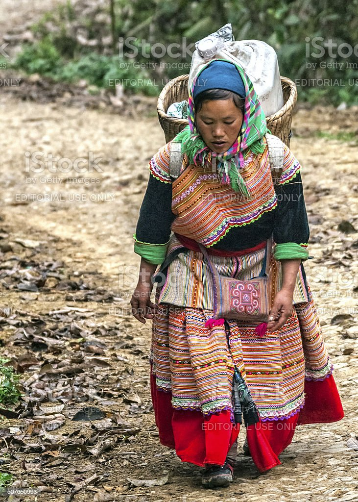 Hmong woman with loaded basket on her back. stock photo