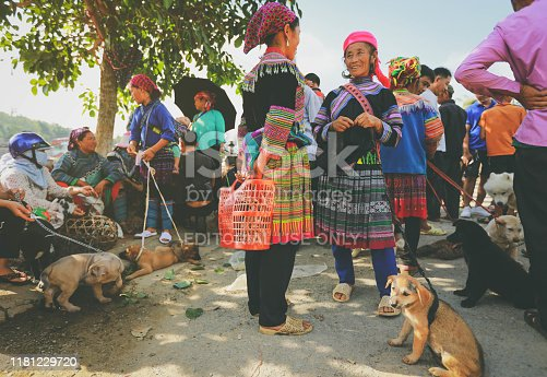 Bad ha, Vietnam - July 7, 2019 : Hmong women selling dogs in Bac Ha market, Northern Vietnam. Bac Ha is hilltribe market where people come to trade for goods in traditional costumes