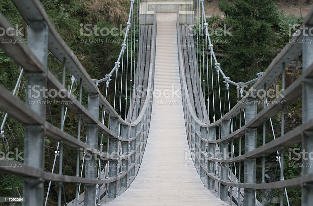 Hängebrücke an der Via Spluga in Graubünden stock photo