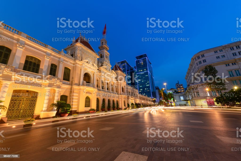 Ho Chi Minh, Viet Nam - MAy 18, 2018. Ho Chi Minh city hall at Le Thanh Ton street on night. royalty-free stock photo
