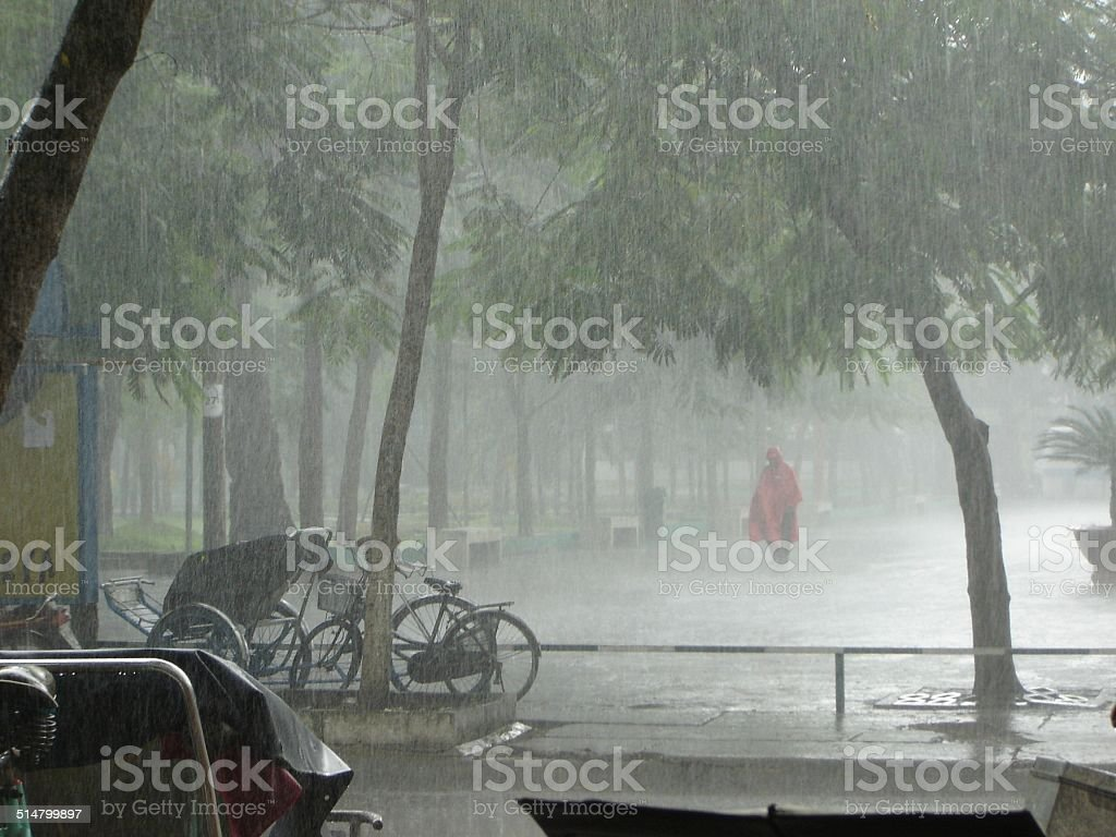 Ho Chi Minh City on a very rainy day. stock photo