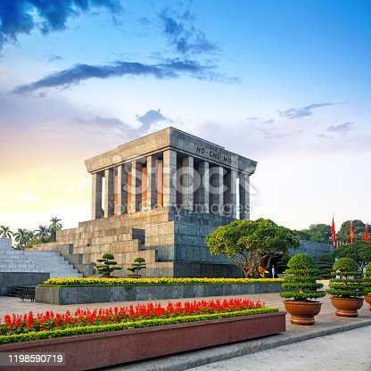 The Ho Chi Minh Mausoleum in the city of Hanoi, northern Vietnam. Composite photo