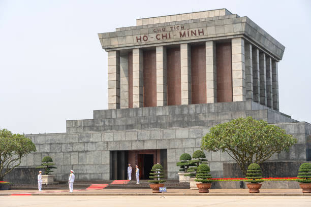 Ho Chi Minh mausoleum view in Hanoi city in Vietnam Ha Noi, Vietnam - march 08, 2020 : Ho Chi Minh mausoleum view in Hanoi city in Vietnam viet cong stock pictures, royalty-free photos & images