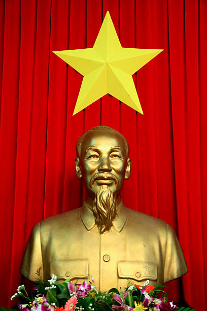 Ho Chi Minh Ho Chi Minh City (Saigon), Vietnam - November 14, 2007: Bust of Vietnamese communist leader Ho Chi Minh at the Reunification Palace in Ho Chi Minh City. viet cong stock pictures, royalty-free photos & images