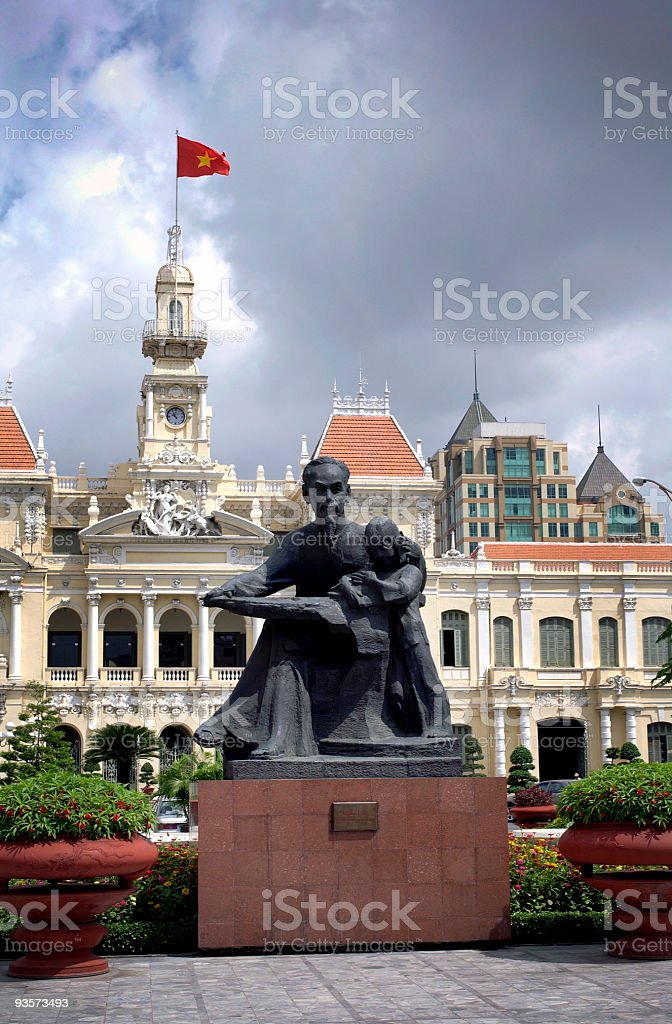 Ho Chi Minh statue outside city hall in HCMC, Vietnam stock photo