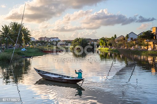 istock Hoai river in ancient Hoian town 671716572
