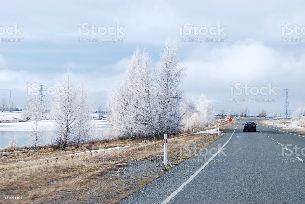 Hoar Frost on Winter's Morning Drive stock photo