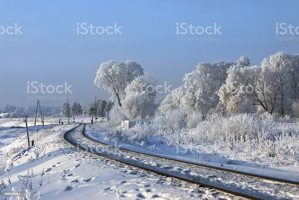 Hoarfrost on branches. Railway turn royalty-free stock photo