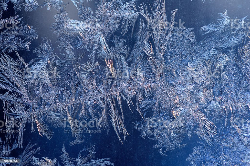 Hoarfrost on glass stock photo