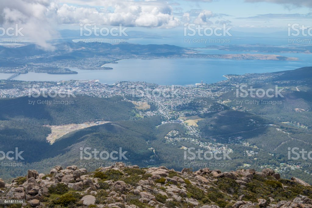 Hobart from Mt Wellington stock photo