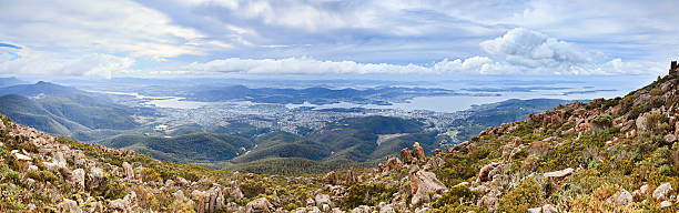 Hobart from Wellington Panorama stock photo
