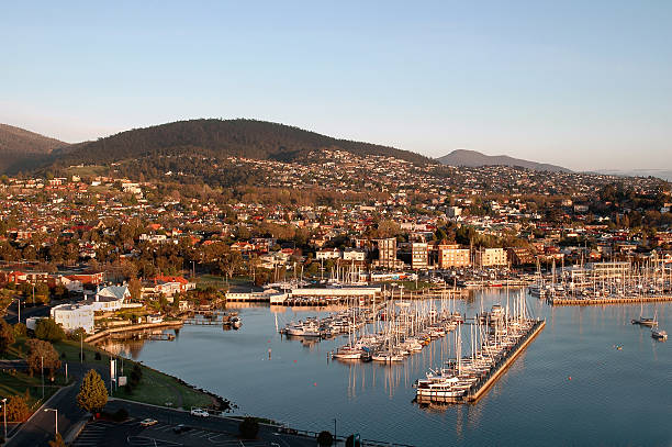 hobart harbour - tasmania stock pictures, royalty-free photos & images