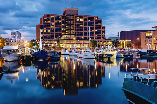 Hobart Marina At Dusk Tasmania Stock Photo - Download Image Now