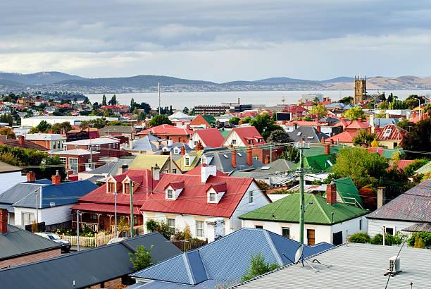 hobart rooftops, tasmania, australia - tasmania stock photos and pictures