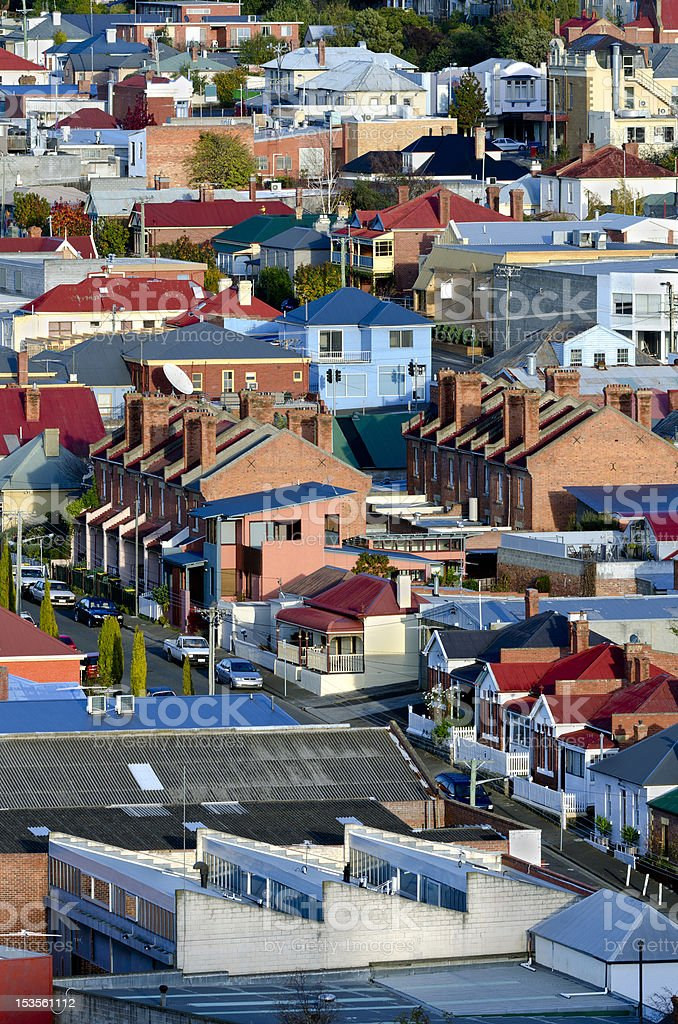 Hobart suburb with variety of geometric architectural styles stock photo