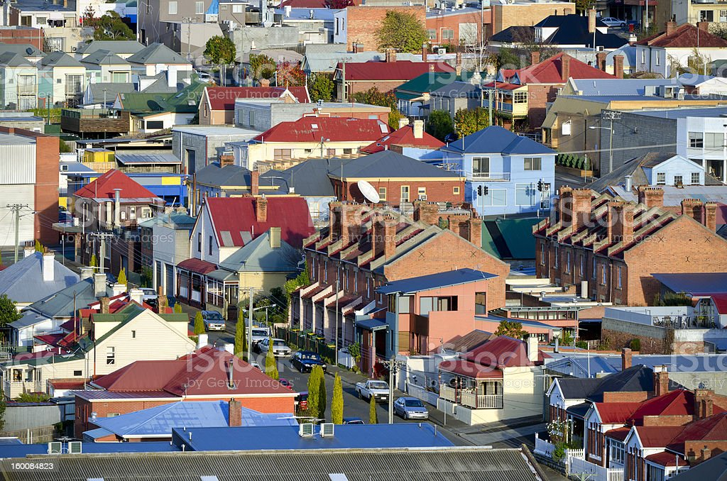 Hobart suburb with variety of interesting architectural styles stock photo