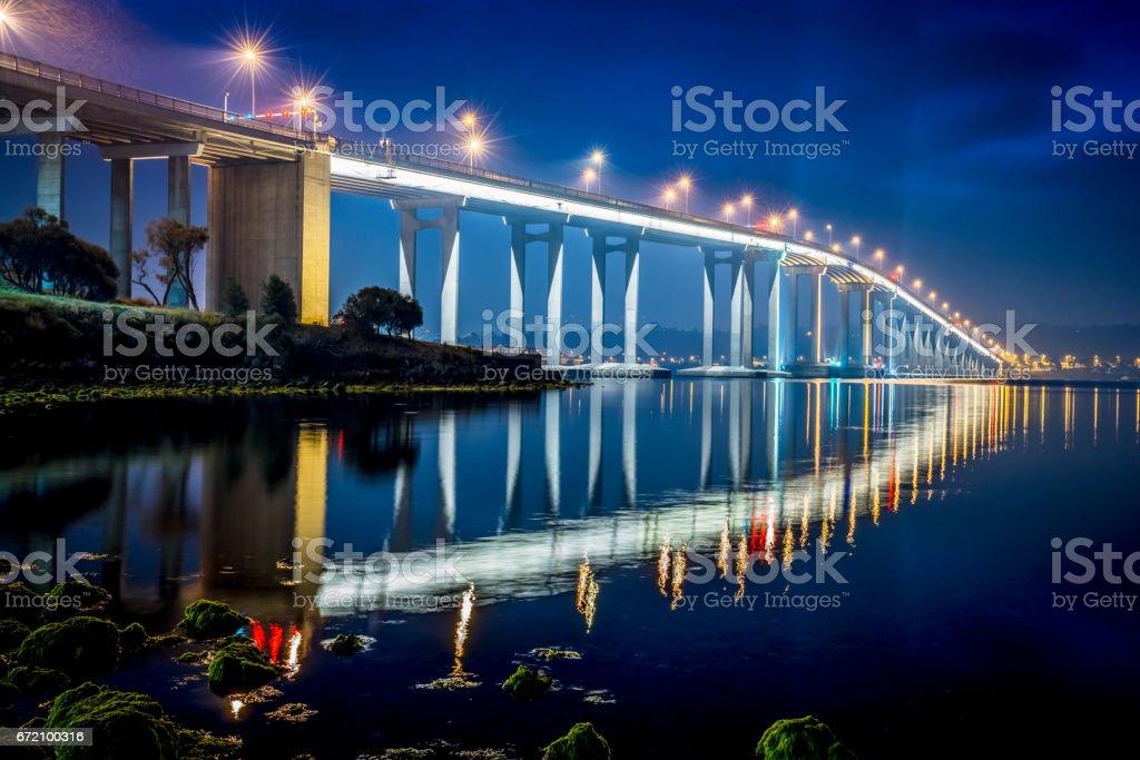 Hobart Tasman Bridge at Night Tasmania Australia stock photo