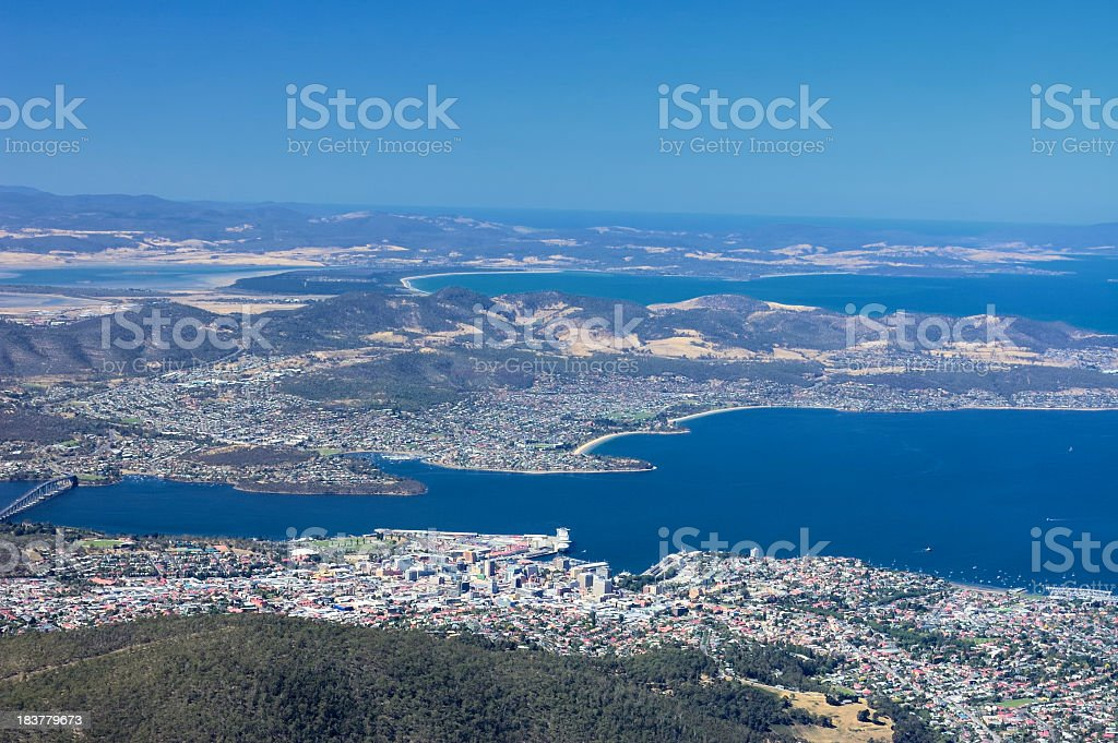 Hobart View From Mt Wellington stock photo