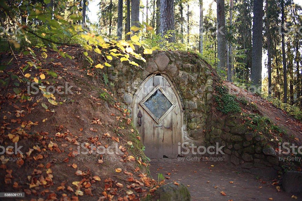 hobbit house grotto fall stock photo