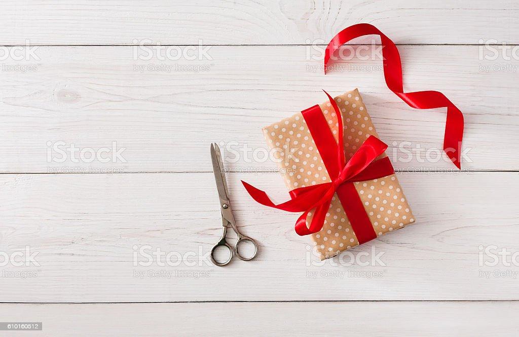 DIY hobby background. Making box for christmas present stock photo