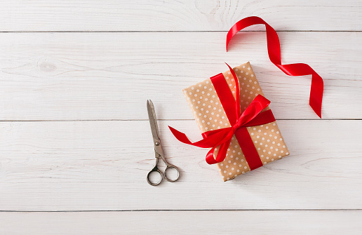 Diy Hobby Background Making Box For Christmas Present Stock Photo - Download Image Now